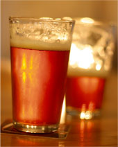 Two glasses of ice cold Red Ale