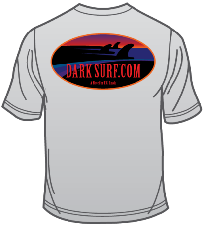Graphic rendering of backside of the Dark Surf t-shirt