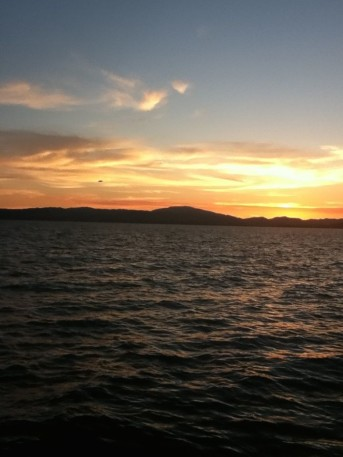 Sunset over Clear Lake in Lake County, Calif.