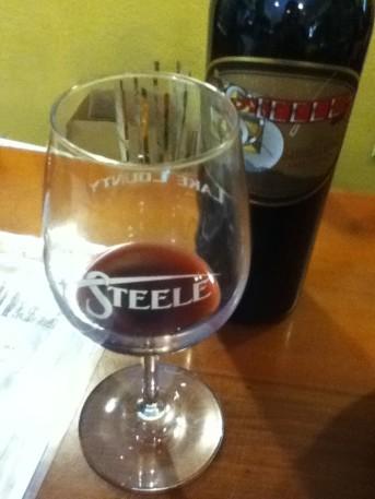 Sampling wine in the Steele Wines tasting room