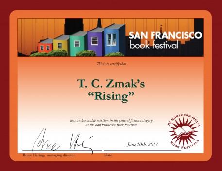 2017 San Francisco Book Festival Certificate